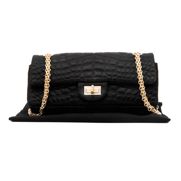 CHANEL Black Satin Crocodile 2.55 Reissue Small Double Flap Bag