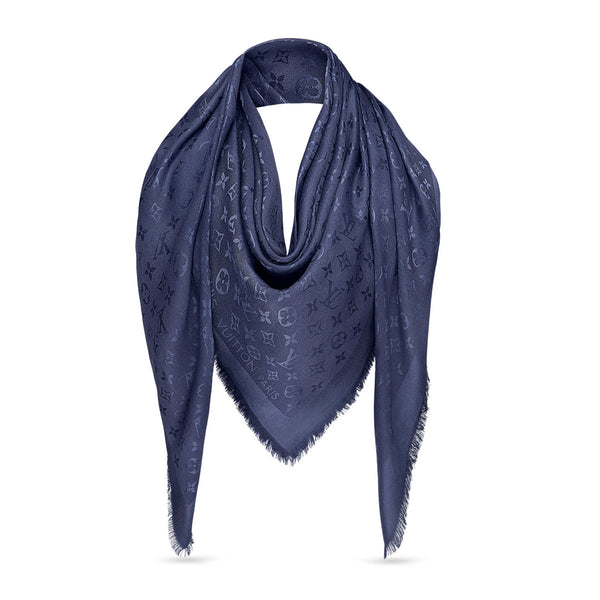 LOUIS VUITTON Navy Silk Monogram Shawl