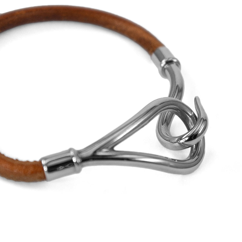 HERMÈS Brown Leather Palladium Plated Hook Bracelet
