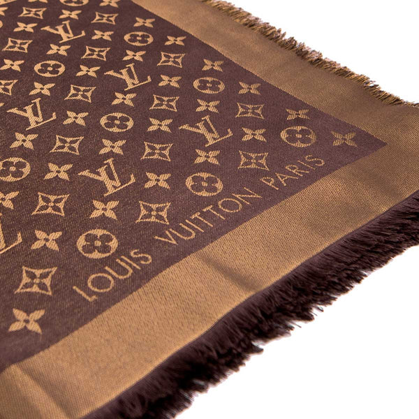 LOUIS VUITTON Bronze Silk Lurex Wool Monogram Shine Shawl