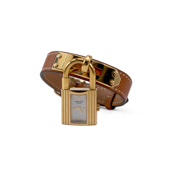 HERMÈS Brown Ardennes Leather Gold Plated Kelly PM Watch