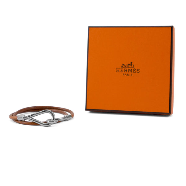 HERMÈS Brown Leather Jumbo Palladium Hook Bracelet/Necklace