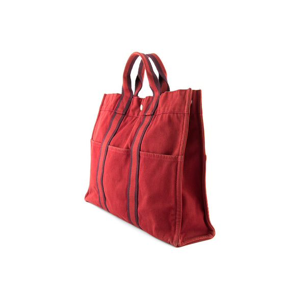 HERMÈS Burgundy Cotton Canvas Fourre Tout MM Tote Bag