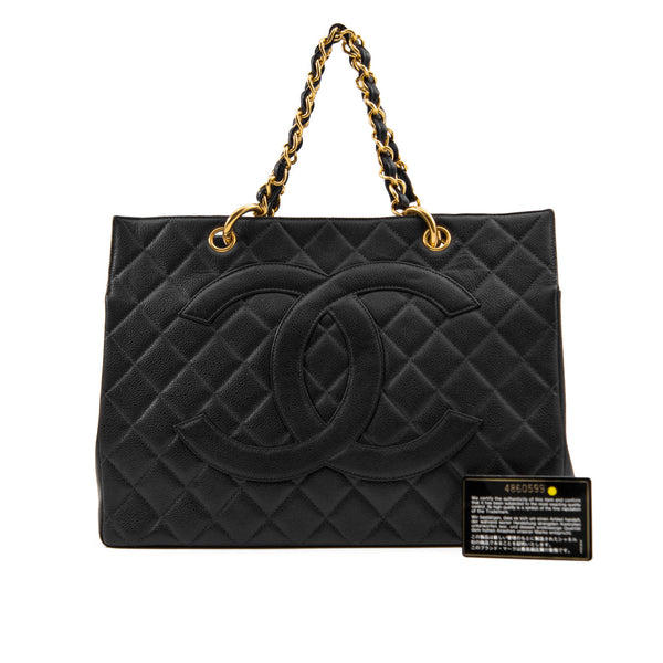 CHANEL Black Quilted Caviar Leather Coco Tote Bag