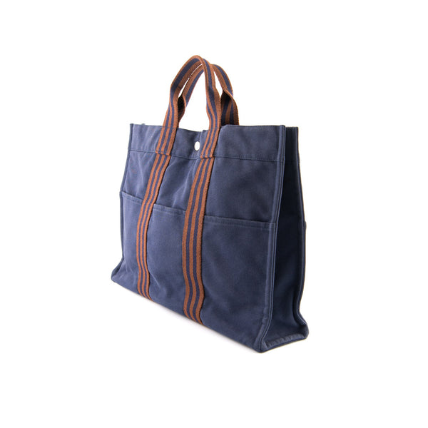 HERMÈS Blue Cotton Canvas Fourre Tout MM Tote Bag