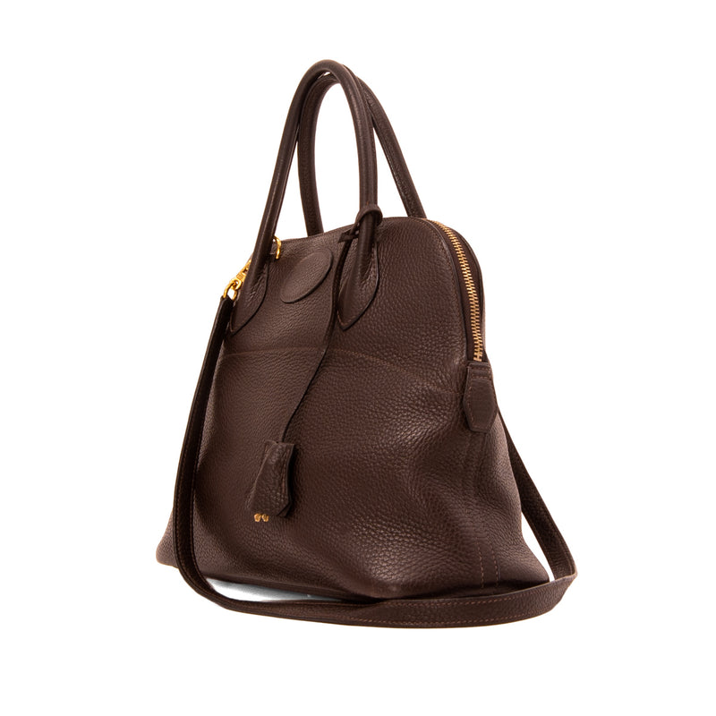 HERMÈS Dark Brown Taurillon Clemence Leather Bolide 31 Bag