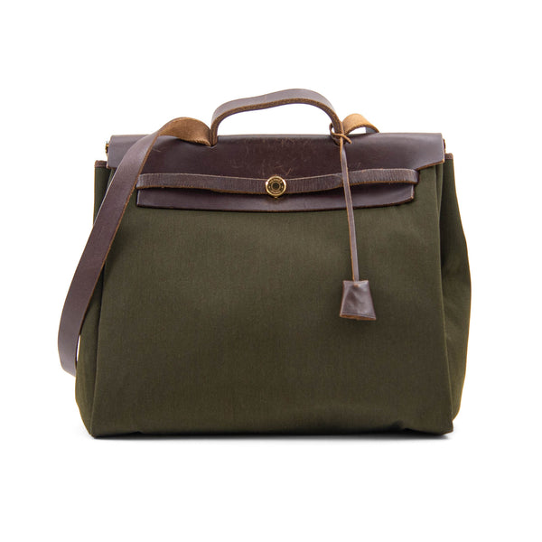 HERMÈS Dark Green Toile and Calfskin Herbag 2-in-1 Bag