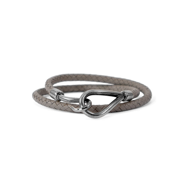 HERMÈS Grey Braided Leather Jumbo Silver Hook Bracelet/Necklace