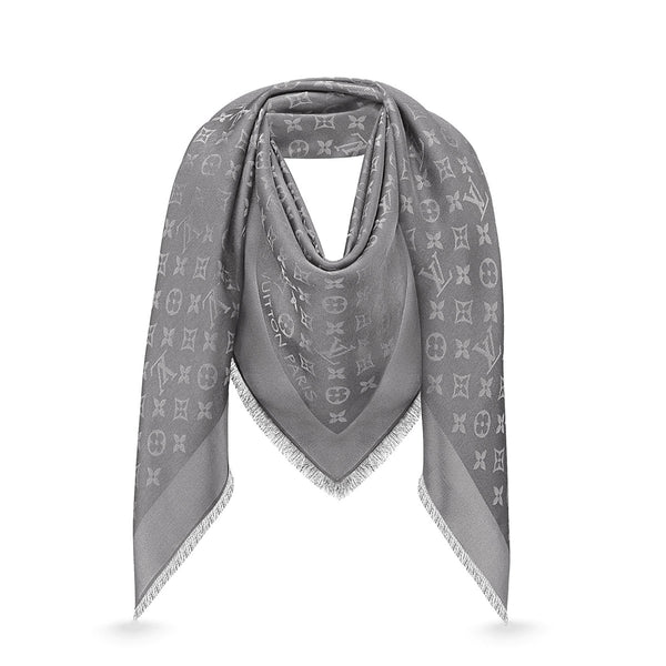 LOUIS VUITTON Grey Monogram Shine Shawl