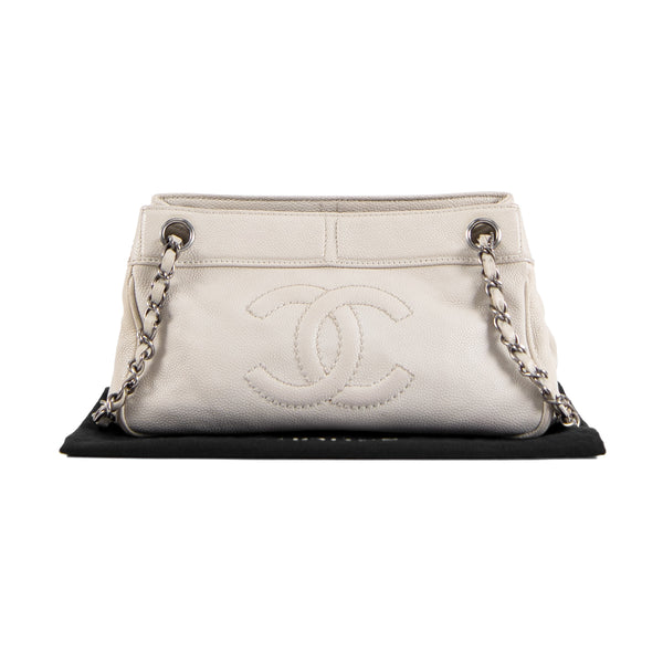 CHANEL Light Beige Caviar Leather CC Shoulder Bag