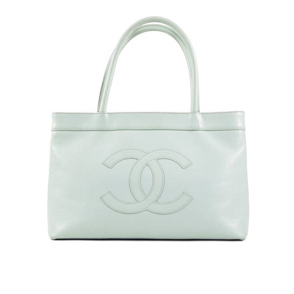 CHANEL Light Blue Caviar Leather CC Medium Tote Bag