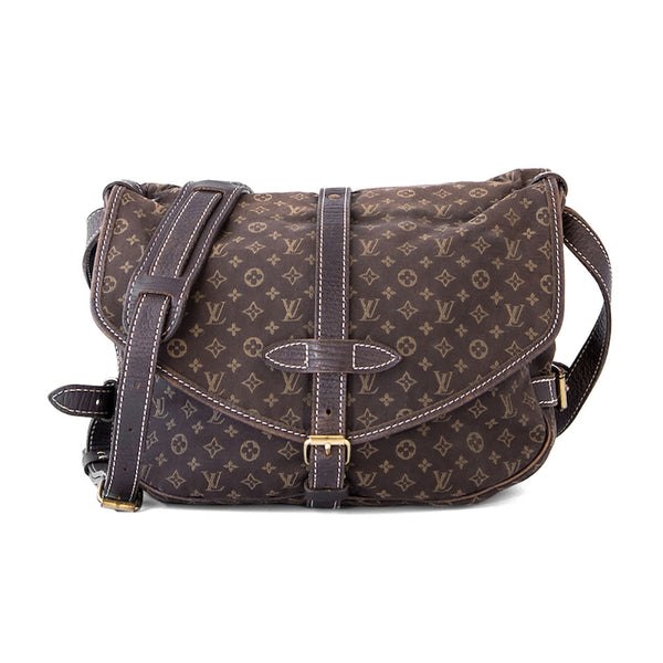 LOUIS VUITTON Fusain Monogram Idylle Canvas Saumur 30 Bag