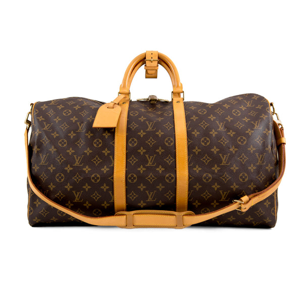 LOUIS VUITTON Monogram Canvas Keepall 55 Bag with Strap