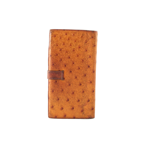 HERMÈS Cognac Brown Ostrich Leather Béarn Wallet