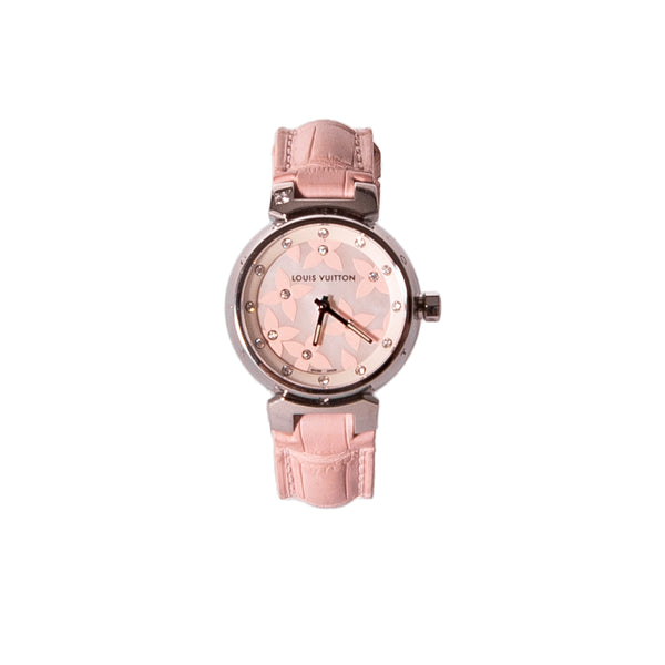 LOUIS VUITTON Tambour Lovely Diamonds Dial Pink Alligator 25mm Watch