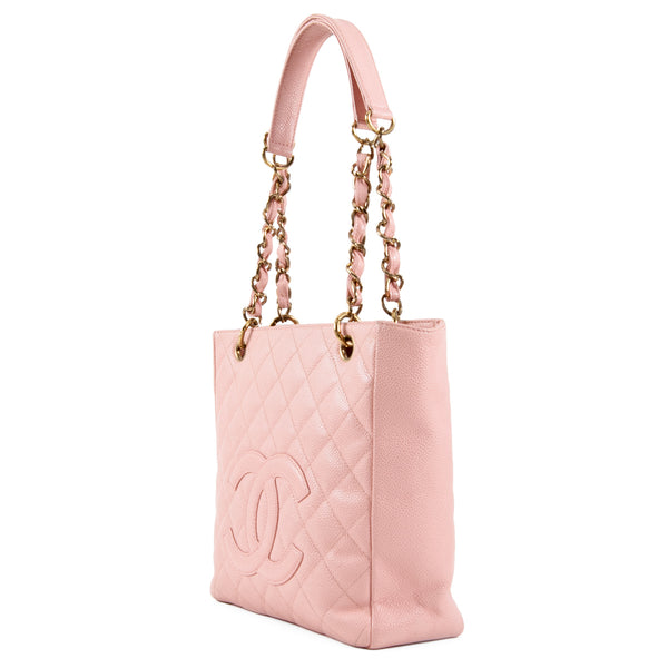 CHANEL Pink Quilted Caviar Leather Petit Shopping Tote PST Bag