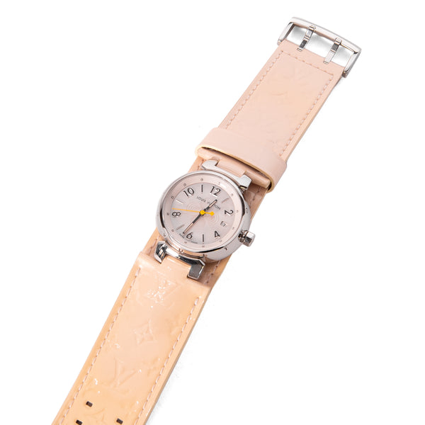 LOUIS VUITTON Tambour Pink MOP Dial Beige Vernis 28mm Watch