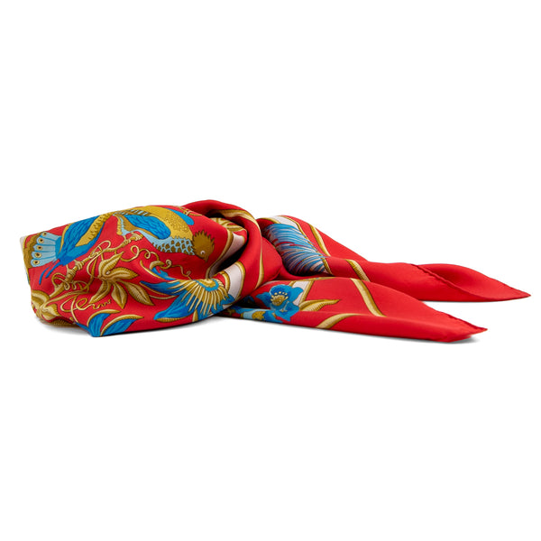 Hermes Red Blue Scarf