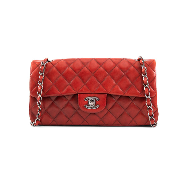 CHANEL Red Quilted Lambskin Classic East West Flap Bag
