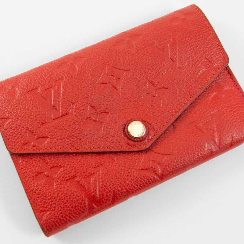 LOUIS VUITTON Red Orient Monogram Empreinte Curieuse Compact Wallet