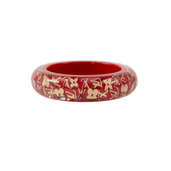 LOUIS VUITTON Red Resin Monogram Inclusion Bracelet GM