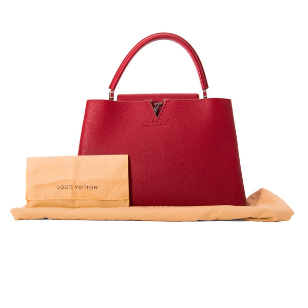 LOUIS VUITTON Cherry Red Taurillon Leather Capucines GM Bag