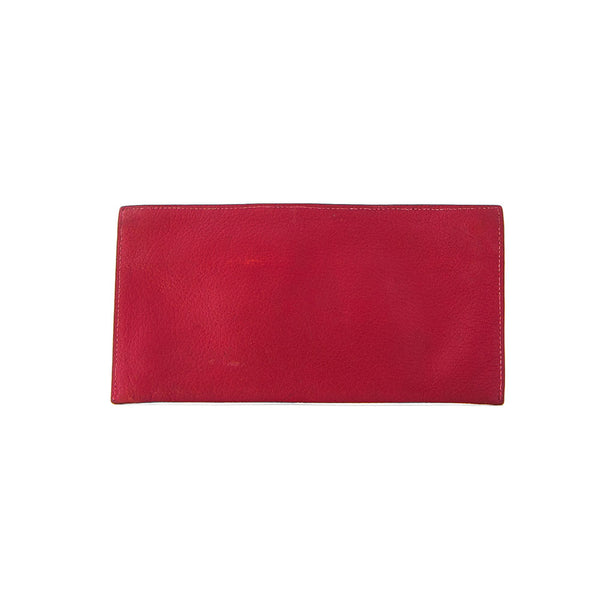 HERMÈS Red Taurillon Clemence Leather Wallet
