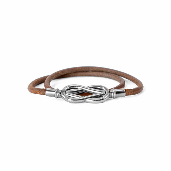 HERMÈS Brown Leather Silver Double Loop Bracelet/Necklace