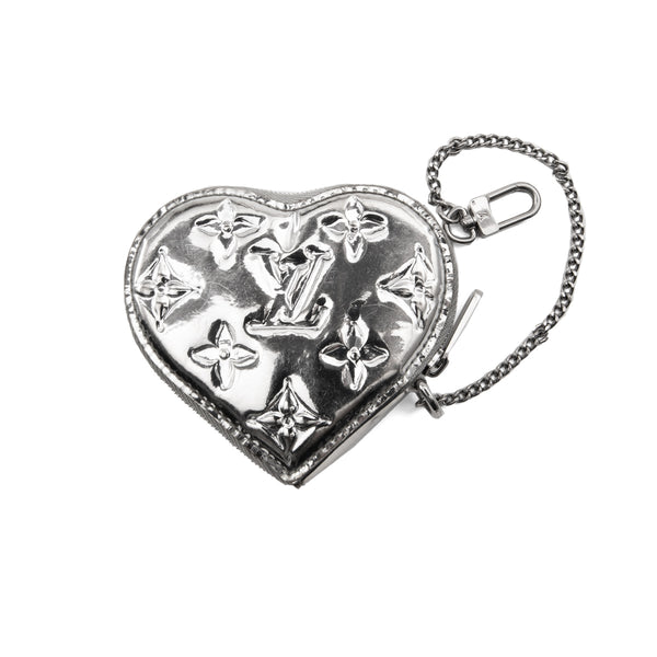 LOUIS VUITTON Limited Edition Silver Monogram Mirror Heart Coin Purse