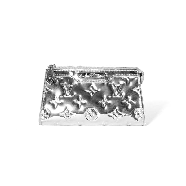 LOUIS VUITTON Limited Edition Silver Monogram Mirror Cosmetic Pouch