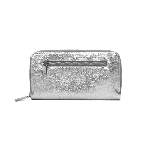 LOUIS VUITTON Silver Suhali Goatskin Zippy Wallet