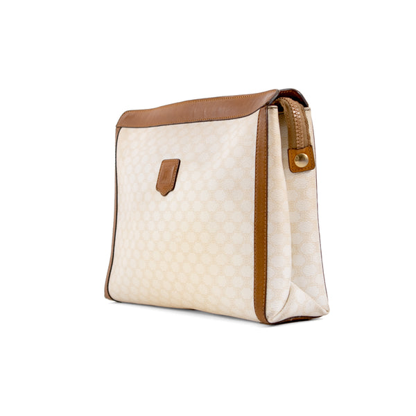CELINE White Macadam Canvas Toiletry Pouch