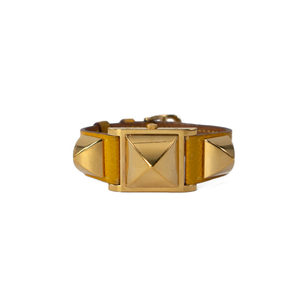 HERMÈS Yellow Ardennes Leather Gold Plated Médor PM Watch