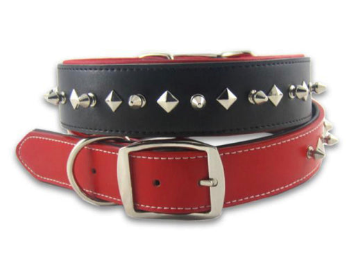 Black or Red Studded Leather Dog Collar