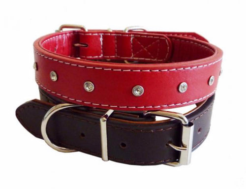 Red or Brown Diamante Studded Leather Collar & Lead - Can Buy Individually