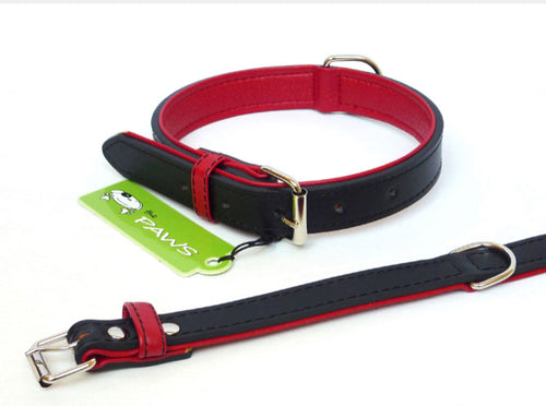 Black & Red Leather Collar & Lead Set - Can Buy Individually