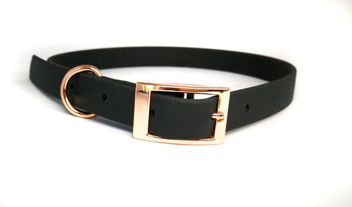 Black Biothane & Rose Gold Collar