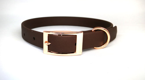 Chocolate Brown Biothane & Rose Gold Collar