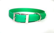Load image into Gallery viewer, Emerald Green Biothane & Rose Gold Collar