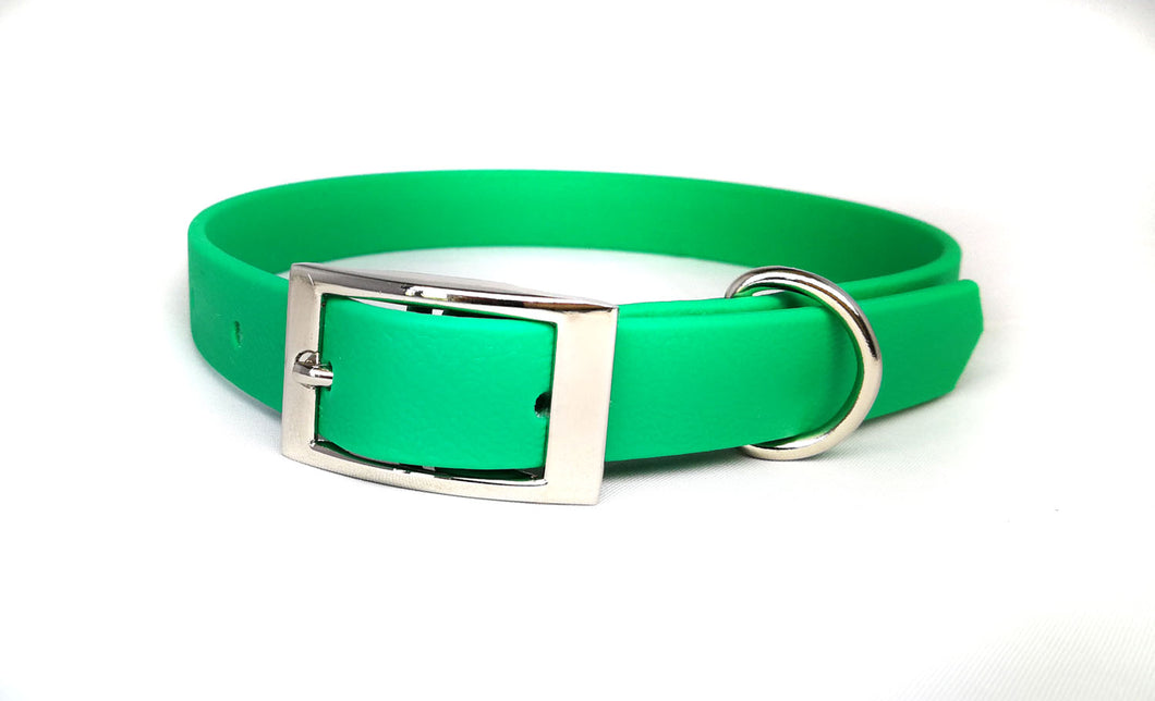 Emerald Green Biothane & Rose Gold Collar