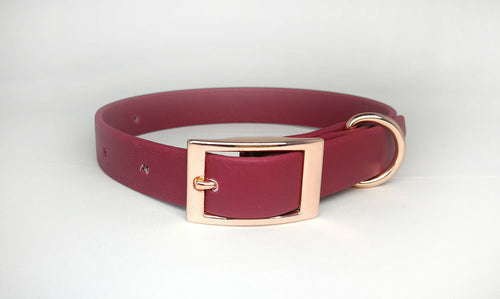 Red Wine Biothane & Rose Gold Collar