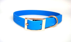 Sea Salt Blue Biothane & Rose Gold Collar