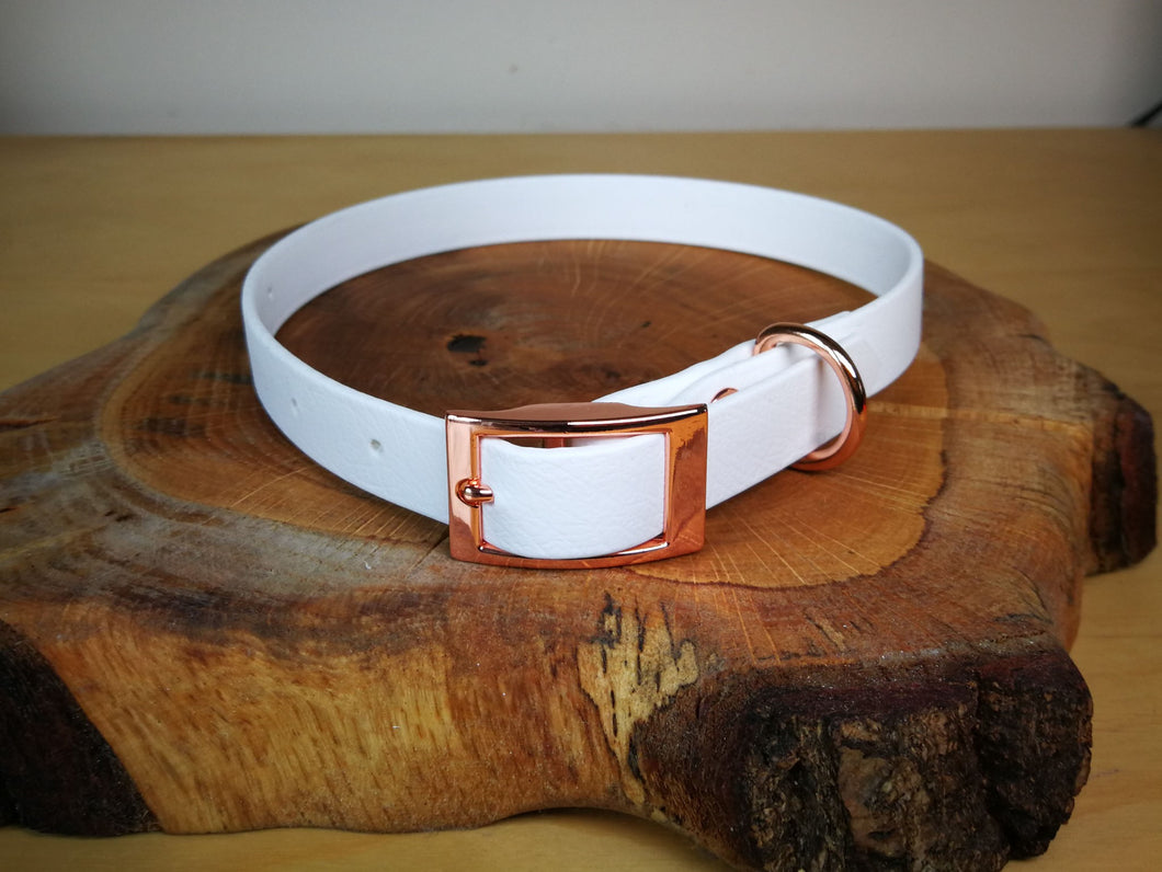 White Biothane & Rose Gold Collar
