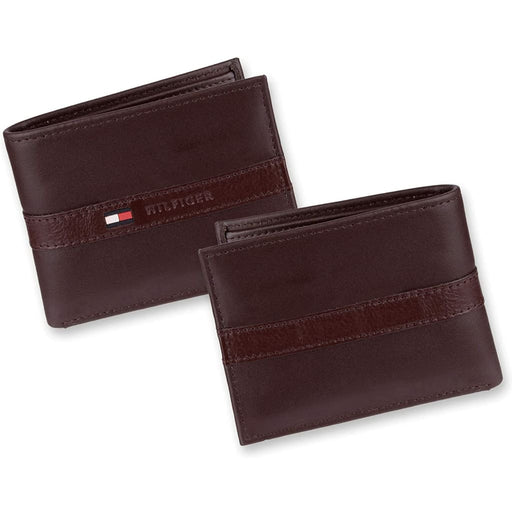Tommy Hilfiger Men's Leather Wallet Slim Bifold Brown - Brown - Accessories