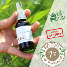 Laden Sie das Bild in den Galerie-Viewer, Auratura 7% Bio CBD Öl made in Austria 100% natural