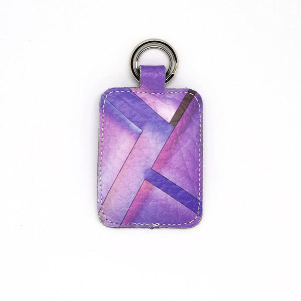 Purple Parallax Leather Keyring