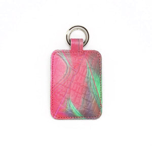 Raspberry Ripple Leather Keyring