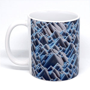 Ceramic mug featuring the surface of a silicon solar cell. The cell is composed of monocrystalline (single crystal) silicon with an etched surface. Imaged with scanning electron microscopy (SEM)