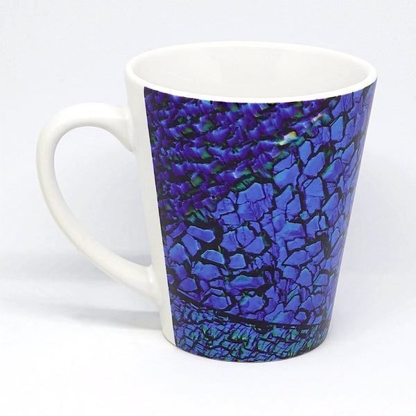 Latte mug featuring part of a polycrystalline silicon solar cell. This photovoltaic cell converts light into electrical energy, and is a clean, renewable source of energy. Imaged with light microscopy