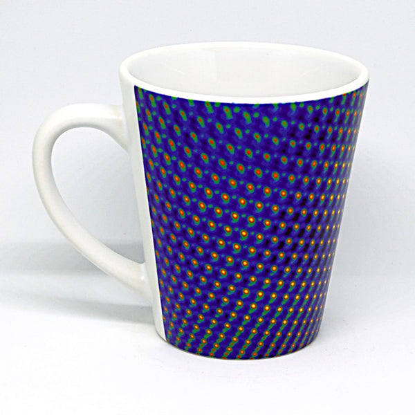 Latte mug featuring a crystalline manganese oxide nanoparticle, showing atoms of manganese and oxygen, a form of manganese oxide used in the production of lithium ion batteries, a common type of rechargable battery used in portable electronic devices. Imaged with transmission electron microscopy (TEM)